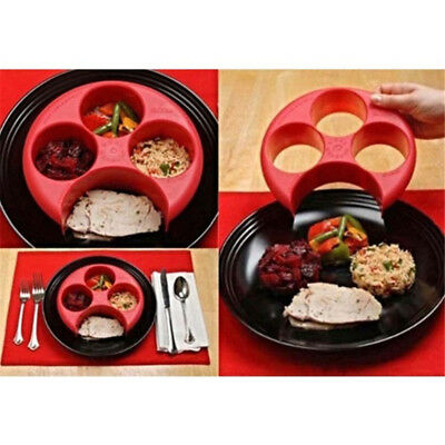 Meal Measure Portion Control Plate Red Diet Weight Loss Healthy Eating Tool