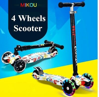 KUOKEL Children Folding 4 Wheel Adjustable Height Handle Kick Scooters +Winnower