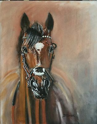 Original Oil Painting On Board Horse ,racing,equine,equestrian,sport