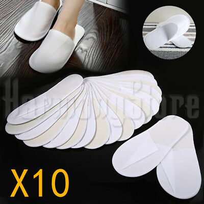 10 Pairs Disposable Guest Slippers Terry Comfortable Hotel Slipper Closed Toe