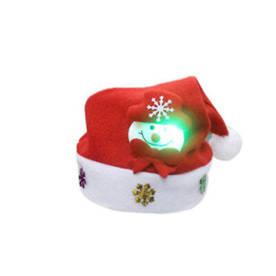 Luminous Christmas Hat Cap Headgear Santa Claus/Elk/Snowman Kids Baby Xmas Gifts