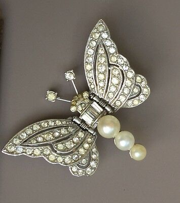 Vintage Butterfly Clip  In Crystals On Silver Tone Metal
