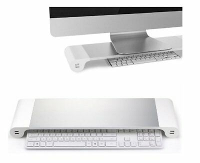Aluminum Laptop Monitor Stand Riser MacBook Monitor Dock Desk with 4 USB Ports
