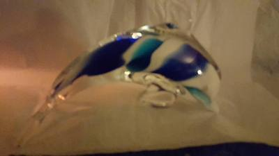 Art Glass Dolphin; Blue and White