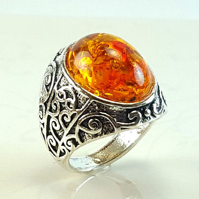 Baltic Amber Gemstone 925 Sterling Silver Plated Ring Size 6, 7, 8,9,10,11 Sr109
