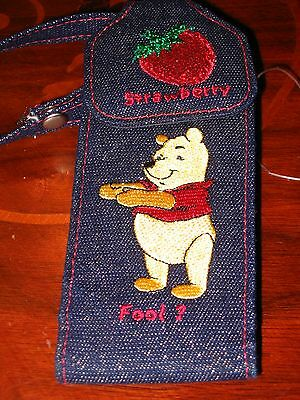 Disney Store Winnie The Pooh Fruity Strawberry Fool Embroidered Phone Case New!