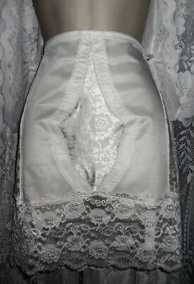 Vtg WHITE Open Bottom Control Girdle Slip Shaper 6 Garters w Lace Trim X COND 4X