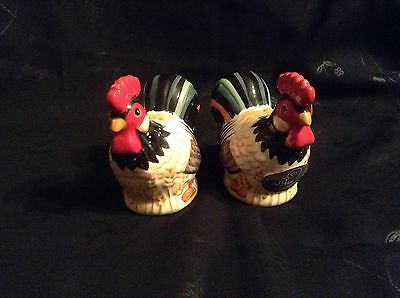 """Salt and Pepper Shakers """"Living Art"""" Colouful Pair of Chickens"""