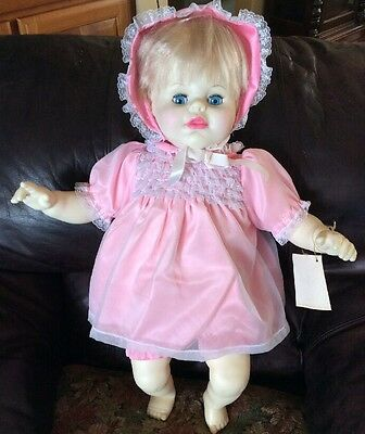 "Vintage Ideal 1983 Thumbelina Classic Baby Doll 25"" Pink Dress Original Clothing"