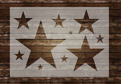 Stars Stencil 10 Various Sized Stars 190 micron Mylar Airbrush Painting Wall