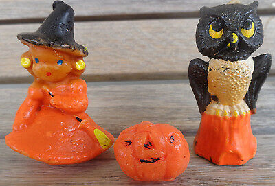 2 Vtg Halloween CANDLE Little Blond Hair Blue Eye WITCH & OWL on Stump GURLEY