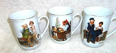 Set of Three 1982 Norman Rockwell Cups