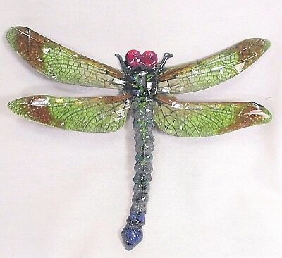 Dragonfly metal wall art hand painted home decor (C)
