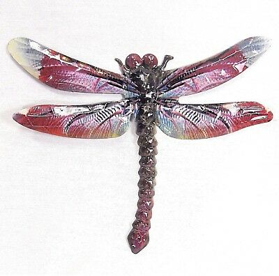 Dragonfly metal wall art hand painted home decor (D)