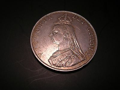 Spink 3923, 1887 Queen Victoria silver Double Florin (Roman I) EF