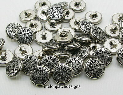 25 Pcs NEW Vintage FILIGREE DESIGN 15mm Small Silver Metal Alloy Shank Buttons