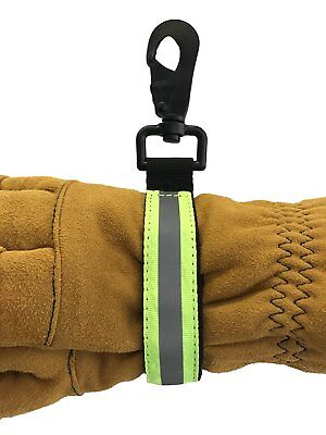LINE2design Firefighter Glove Strap Heavy Duty Turnout Gear Reflective - Green