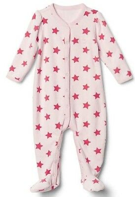 69dc0bc01306 Baby Gap Girl Star Velour Footed One Piece Romper Bodysuit Pink Size 3-6  Months