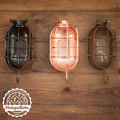 Vintage Industrial Retro metal Work Lamp Cage Guard  - Copper or Rusty Sea Salt