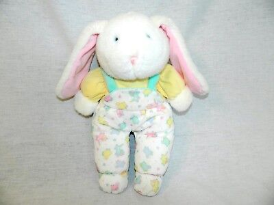 "Eden 14"" plush White Bunny Rabbit Velour Sheep Overalls Blue eyes stuffed vtg"