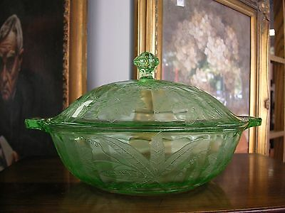"Green Depression Floral Poinsettia 9 1/2"" Covered Casserole by Jeannette"