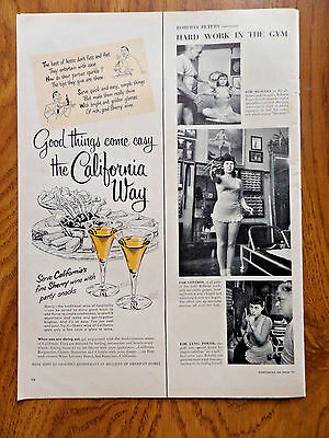 1951 The California Way Sherry Wine Ad  Served with Party Snacks