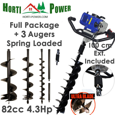 Professional Earth Auger Post Pole Borer 82CC 3Drills Bits 100 150 200 spring