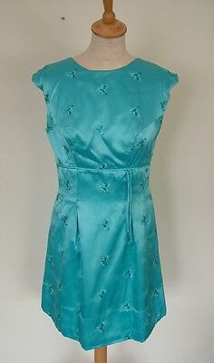 Vintage 60s blue satin chinoiserie mini party evening dress, S 8 10