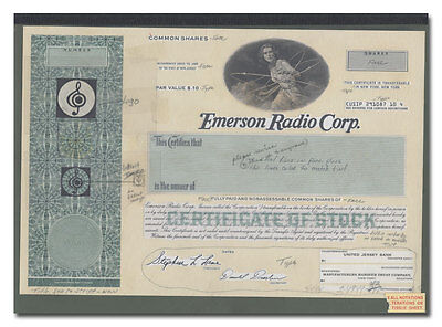 Emerson Radio Corp. RARE American Bank Note Production Portfolio