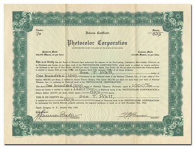 Photocolor Corporation Stock Certificate (Irvington-on-Hudson, New York)