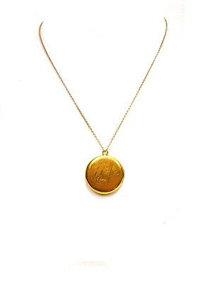 Antique Yellow Gold Filled Round Locket with Photo of Young Woman