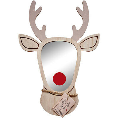 Christmas Reindeer Mirror with Red Nose by Transomnia