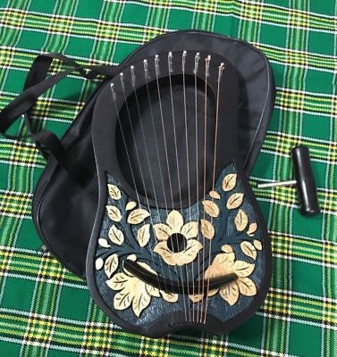 Black Gold 10 strings lyre harp with Free Carrying bag and Tuning Key