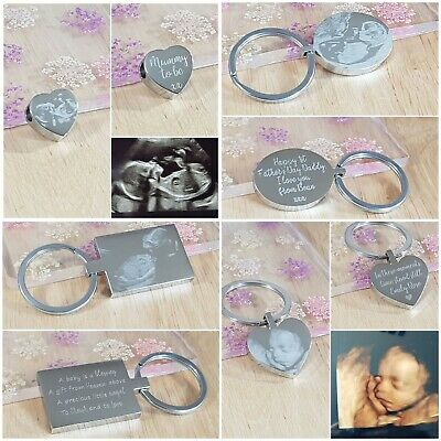 Baby Shower Gift Scan Photo / 3D Scan, Personalised engraved keyring or Charm