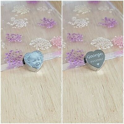 Personalised Charm Photo Heart Engraved, Christmas, Baby, Birthday, Women Gift