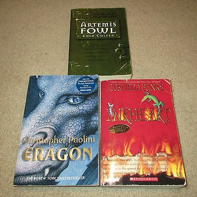 Lot of 3 Paperback books for Young Readers: Artemis Fowl, Eragon 1 & Inkheart