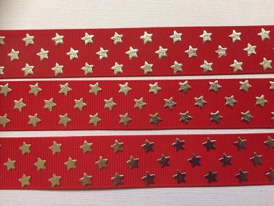 "BB Ribbon METALLIC STARS ON RED  1m grosgrain 7/8"" 22mm christmas xmas star"
