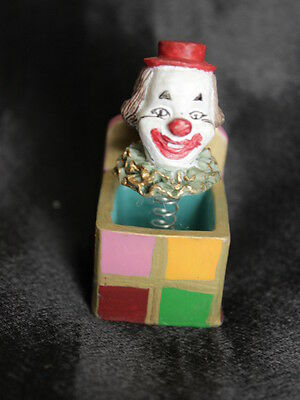 Miniature Handcrafted Jack-in-the-Box Dollhouse Toy Clown Red Hat Lavender #4494