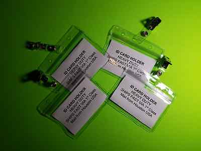 Horizontal ID Badge Card Holder with Clips Conference Meetings CLEAR - 4 Pack