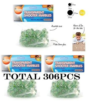 306pcs Assorted Size Normal and Jumbo Transparent Shooter Marbles 100% Brand New