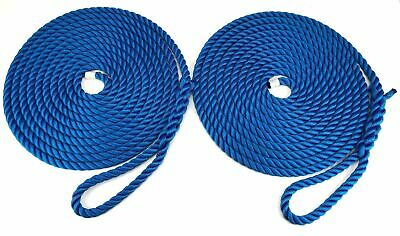 14mm-floating-mooring-ropes eye-spliced-3-strand-royal bleu en paires x 12mts