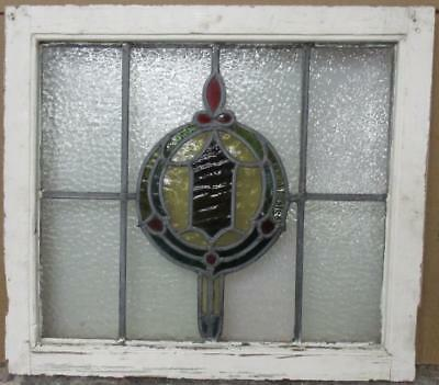 "MID SIZED OLD ENGLISH LEADED STAINED GLASS WINDOW Beautiful Geo 23.75"" x 21.5"""
