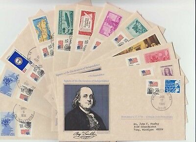 Qty 12 - 1985 Us Cover Signers Declaration Of Independence -Mixed Lot- No Dupes