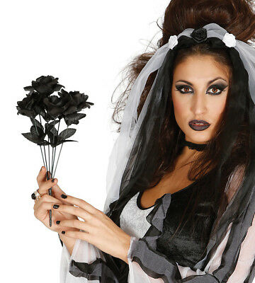 Black Rose Flower Bouquet Corpse Ghost Bride Fancy Dress Costume Halloween