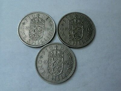 3 Queen Elizabeth II English shillings 1960-1962 nEF.