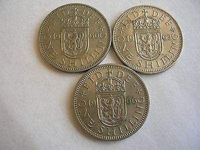 3 Queen Elizabeth II Scottish shillings dated 1960, 1963 & 1966 VF- EF