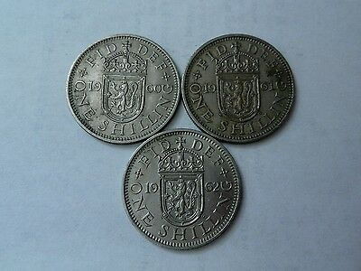 3 Queen Elizabeth II Scottish shillings VF-EF, 1960,61,62
