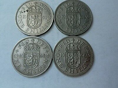 4 Queen Elizabeth II Scottish shillings gVF-EF, 1963,64,65,66