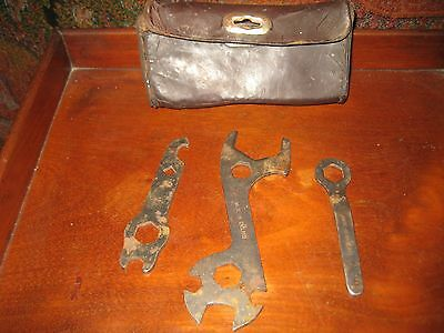 Vintage Bicycle Tools In Original Leather Case (3 Tools) Made In England