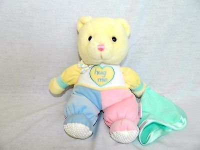 "EDEN 9"" plush pastel velour  HUG ME musical Rock a Bye Baby Teddy Bear stuffed"